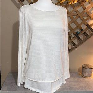 White Knit Layered Top w/Silver Metallic Stripes